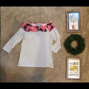 Elle polka dot & floral knit top